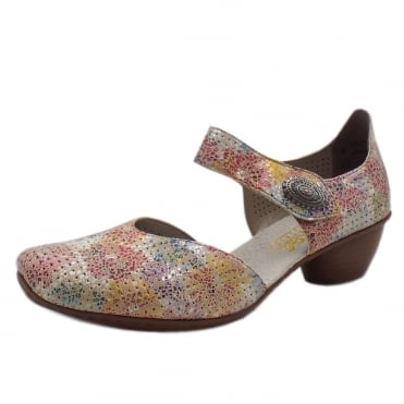43754-90 Seafront Low Heel Ankle Strap Summer Shoes in Multi Flower