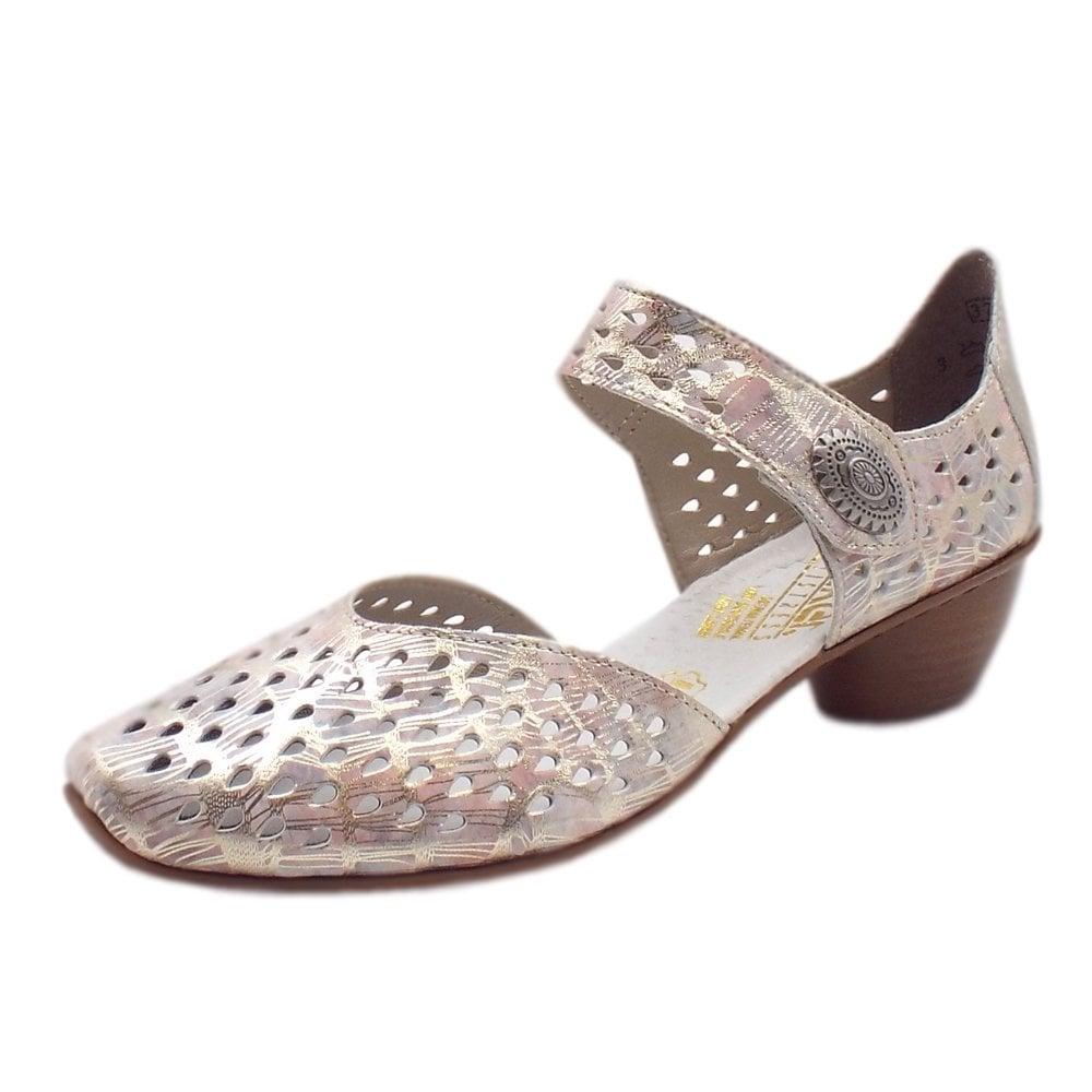4907b01829bf 43758-90 Yodel Low Heel Ankle Strap Summer Shoes in Multi Metallic