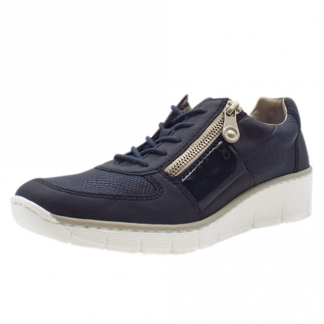 Rieker 53714-14 Micah Smart Casual Lace-Up Trainers In Navy