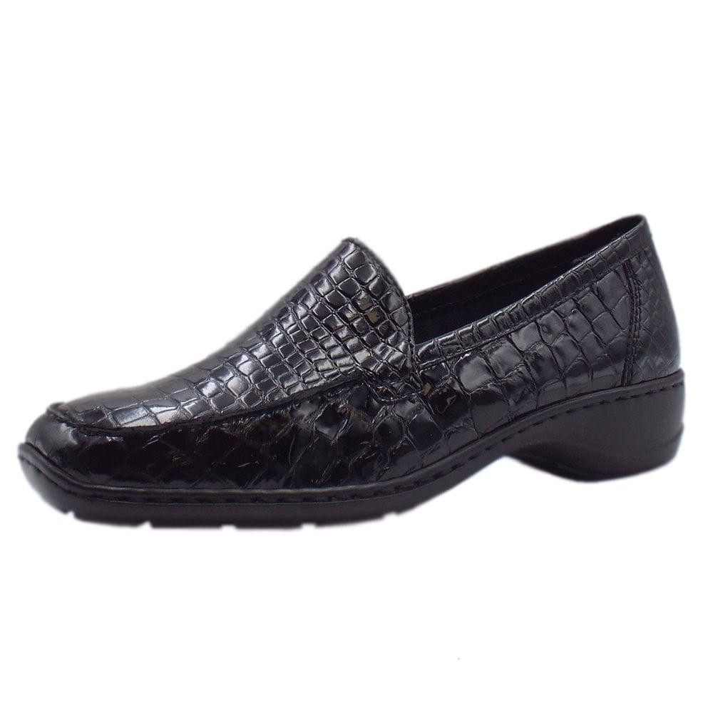 41f464fecda 583A0-00 Wonder Slip On Patent Shoes in Black Croc