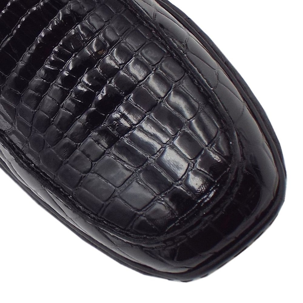 1c50dfaf5e60 583A0-00 Wonder Slip On Patent Shoes in Black Croc