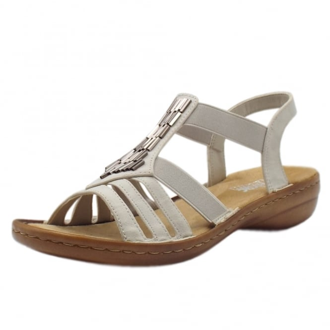 Rieker 60800-80 Pamela Comfortable Fashion Sandals in Ice