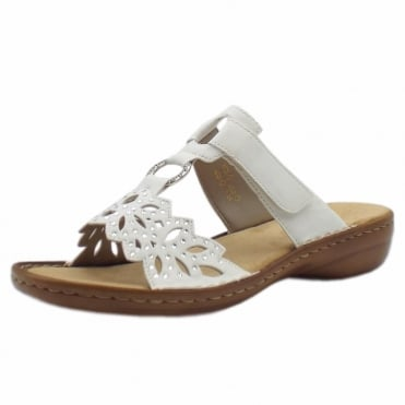 608A6-80 Atlantic Stylish Flat Mule Sandals in White