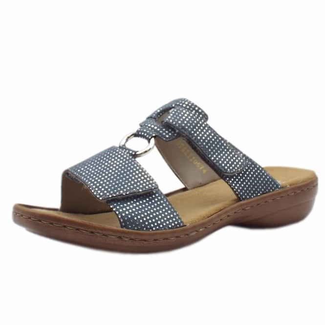 Rieker 608P9-12 Atlantis Stylish Flat Mule Sandals in Blue
