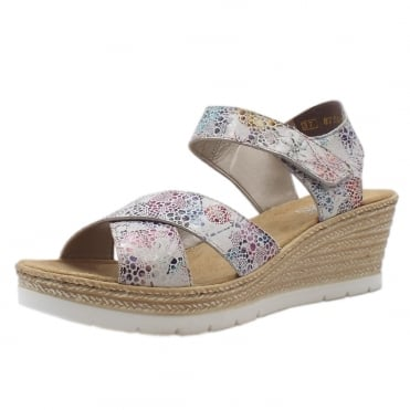 61943-90 Paloma Fashion Wedge Sandals in White Flower