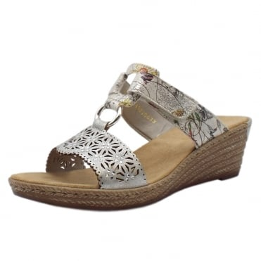 62427-80 Faith Comfortable Fashion Wedge Sandals in White Flower