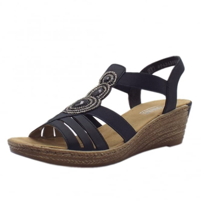 Rieker 62459-14 Bramhall low wedge Comfortable Sandals in Navy