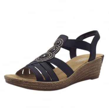 62459-14 Bramhall low wedge Comfortable Sandals in Navy