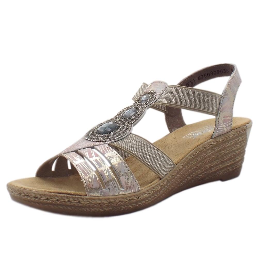 173171ca4088 62459-92 Bramhall low wedge Comfortable Sandals in Multi Metallic