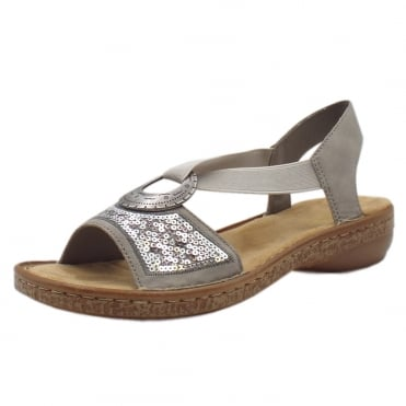 62809-40 Crosby Fashionable Slip On Sandals in Silver