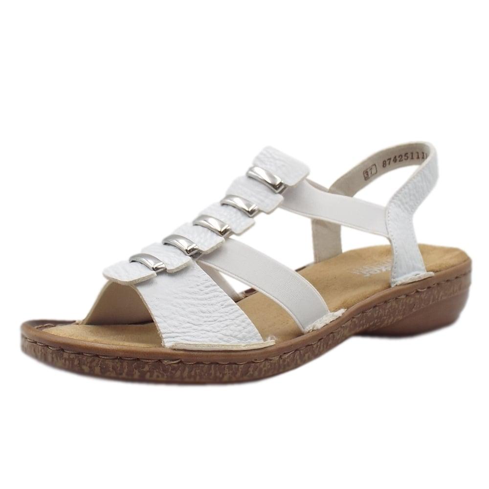 Rieker 62850 80 Lytham Women S Comfortable White Sandals
