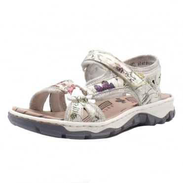 68879-90 Arabesque Women's Trekking Sandals in White Flower