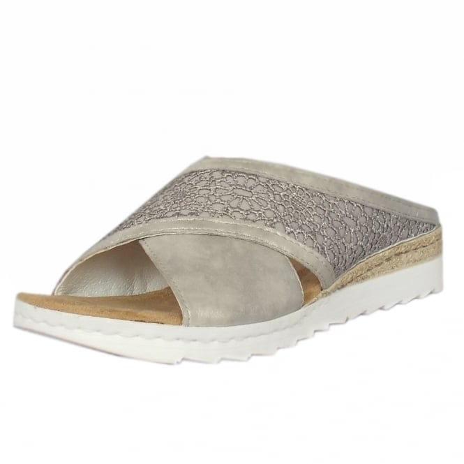 Rieker Alice Casual Fashion Slide Sandals in Grey