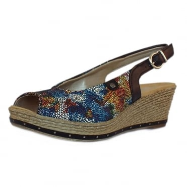 April Women's Low Wedge Multi-colour Sling-back Sandals