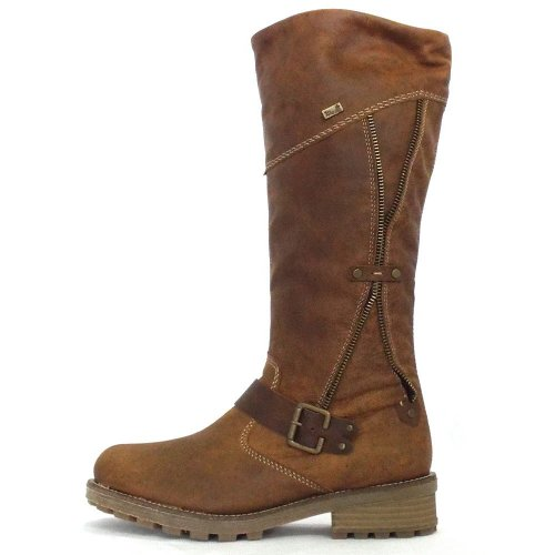 Rieker Austin Ladies Tan Brown Leather Winter Boots From