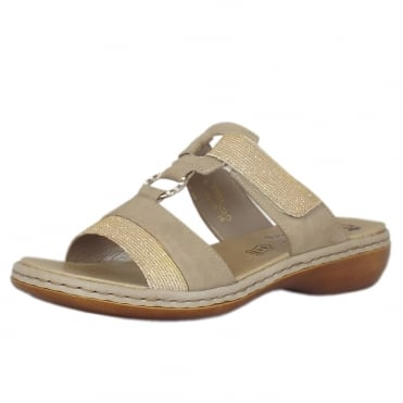 Ava Velcro Fastening Sandals in Beige Multi