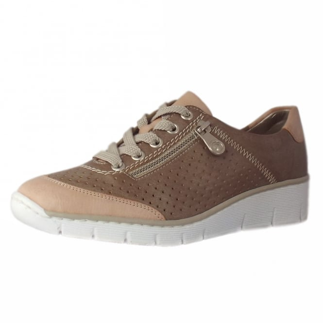 Rieker Avenue smart casual lace-up trainers in Sand