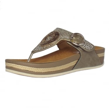 Rieker Aztec Low Wedge Adjustable Sandals in Beige