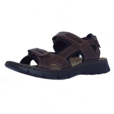 Basque Mens Sport Walking Sandals in Brown Leather