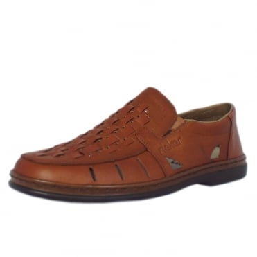 Rieker Brutus Men's Casual Summer Slip On Shoes In Whisky