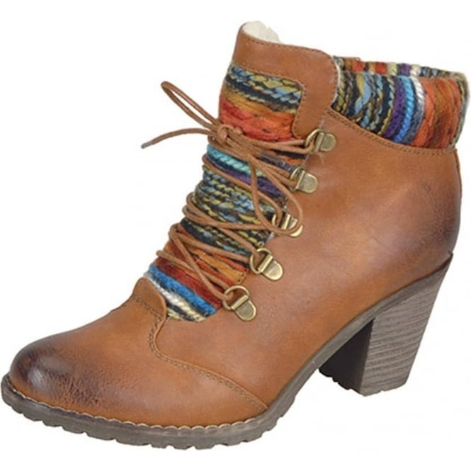 Buzzard Fashion Ankle Boots With Knitted Collar in Cognac