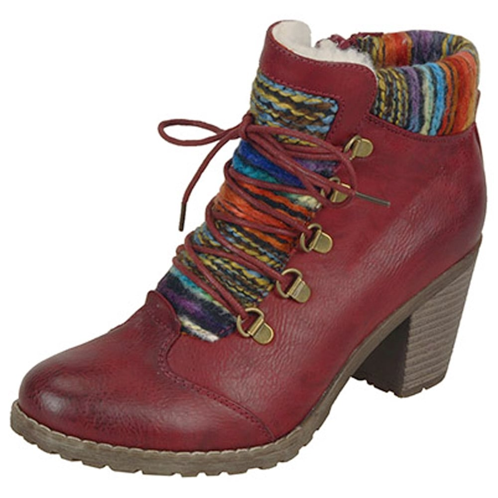 374e0236c2 Rieker Buzzard | Red Fashion Ankle Boot with Knitted Collar | Mozimo
