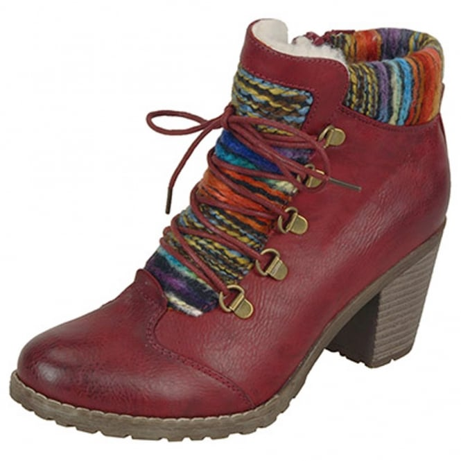 Rieker Buzzard Fashion Ankle Boots With Knitted Collar in Red