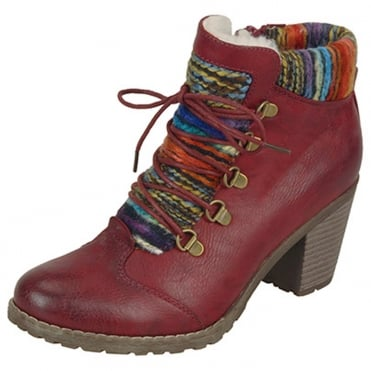 Buzzard Fashion Ankle Boots With Knitted Collar in Red