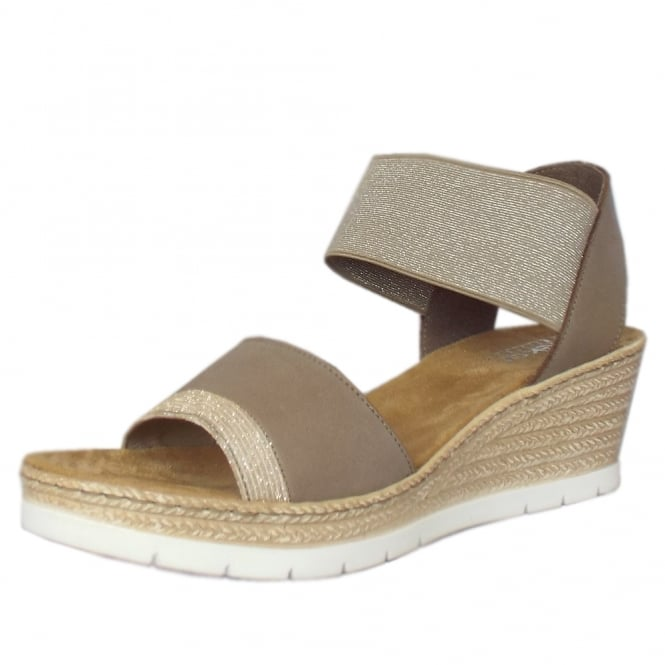 Rieker Caroline Low Wedge Comfortable Sandals in Beige