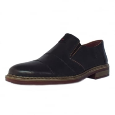 Cavalery Mens Smart-Casual Slip On Shoe in Black Leather