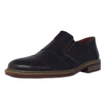 Rieker Cavalery Mens Smart-Casual Slip On Shoe in Black Leather