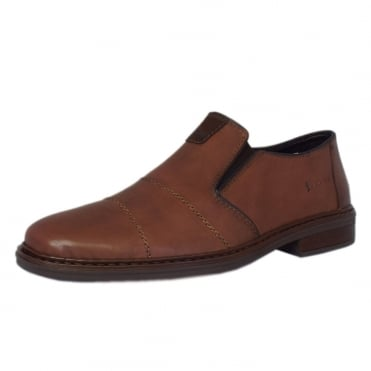 Rieker Cavalery Mens Smart-Casual Slip On Shoe in Brown Leather