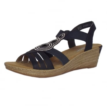 Rieker Clare Low Wedge Comfortable Sandals in Navy