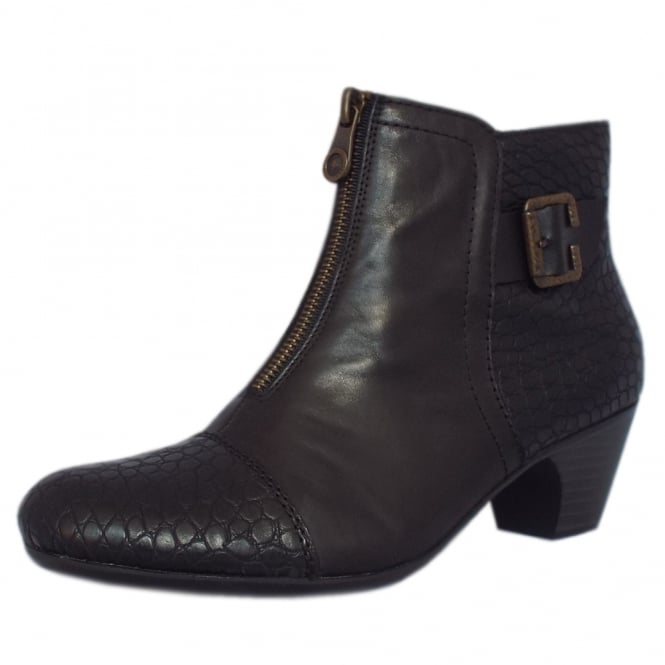 Rieker Cleveland Fashion Ankle Boots in Black Croc