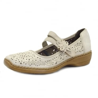 Doris Velcro Fastening Shoe in Perle White