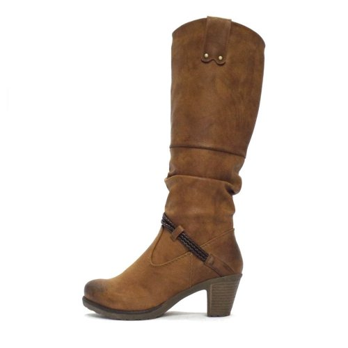 Rieker Eagle Long Tan Faux Leather Ladies Boot Women S