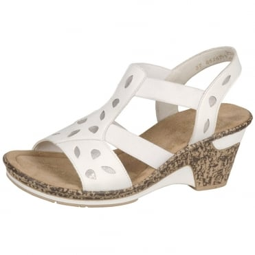 Elba Women's Wedge Sling Back Sandals in White