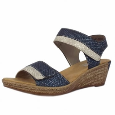 Helga Low Wedge Velcro Fastening Sandals in Blue
