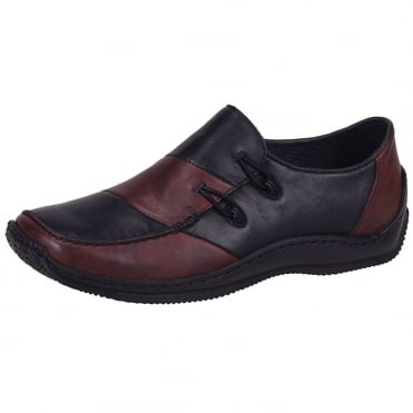 Journey Casual Slip on Shoes in Black & Red Leather