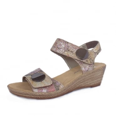 Katie Low Wedge Velcro Fastening Sandals in Beige Multi Floral