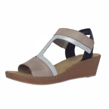 Key Largo Women's low wedge Comfortable Sandals in Beige