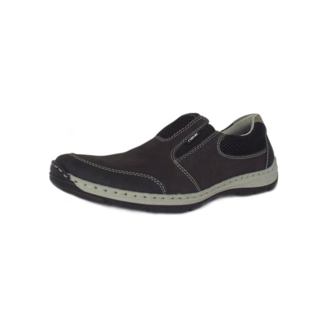 Rieker Kitty Hawk Mens Summer Slip On Trainer in Black