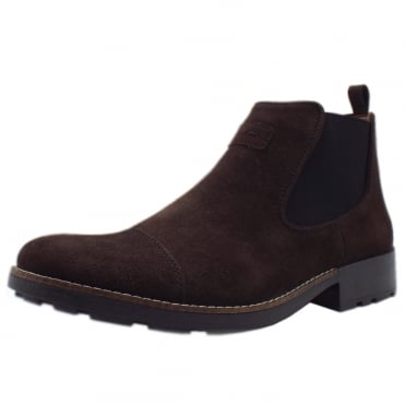 Luther Men's Winter Pull On Chelsea Boots in Brown Suede