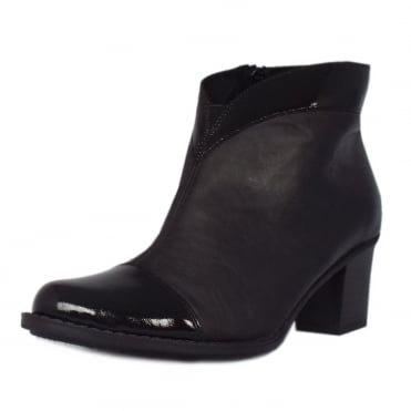 Rieker Luxor Shoe Boots in Black Leather with Patent Trim