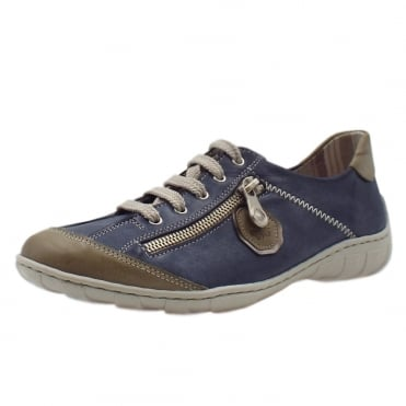 M3724-60 Bonito Smart Casual Lace-Up Trainers In Denim