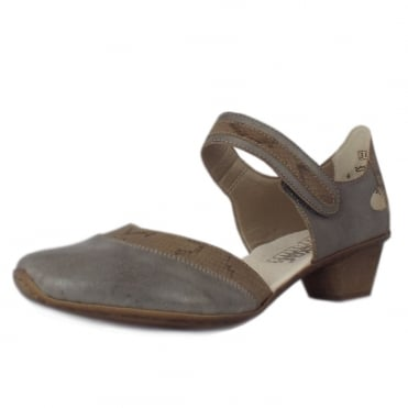 Madison Low Heel Ankle Strap Summer Shoes in Grey