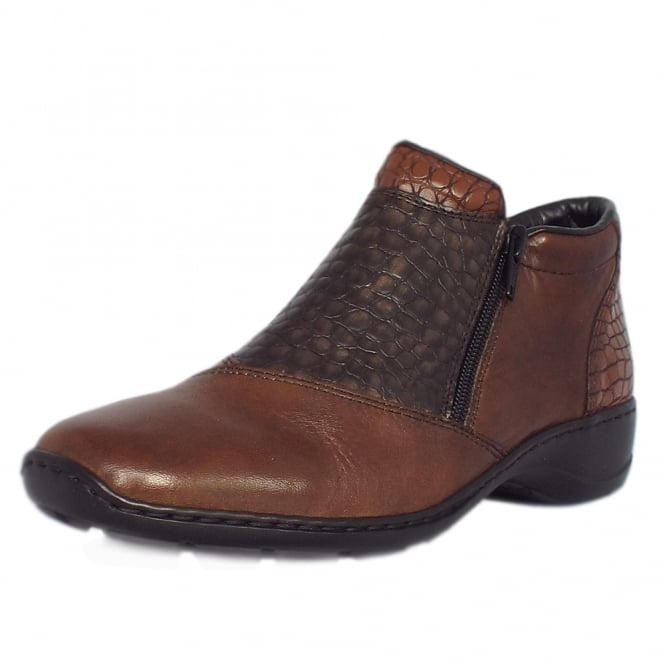 Rieker Mahoni Comfortable Roomy Fit Ankle Boots in Brown Mix