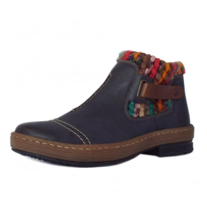 Rieker Minitonka Fleece Lined Short Boots in Navy