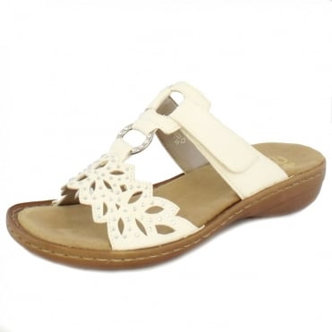 Molly Ladies Velcro Sandals in White