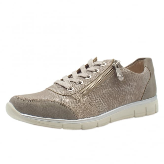 Rieker N4020-40 Yvonne Smart Casual Lace-Up Trainers In Sand
